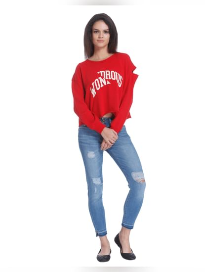 Red Ripped Sleeve Text Print Sweatshirt