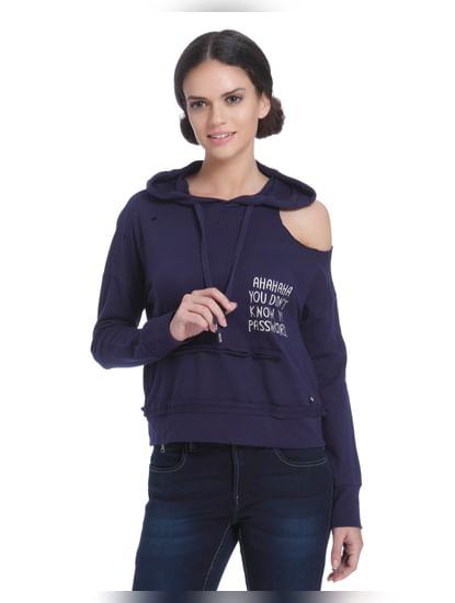 Blue Cut Shoulder Hooded Sweater