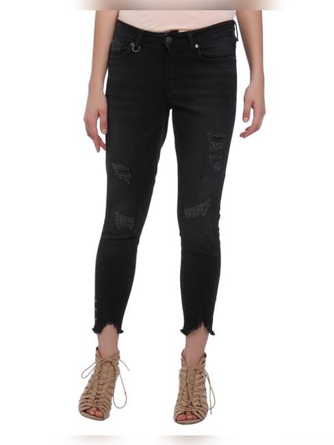 Black Eyelet Detail Regular Waist Skinny Fit Ripped Jeans