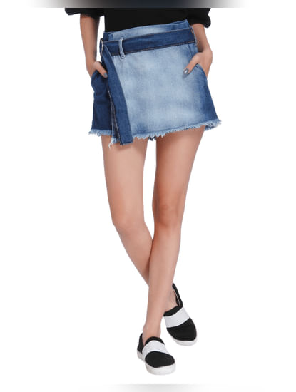 Dark Blue Denim Mini Shorts
