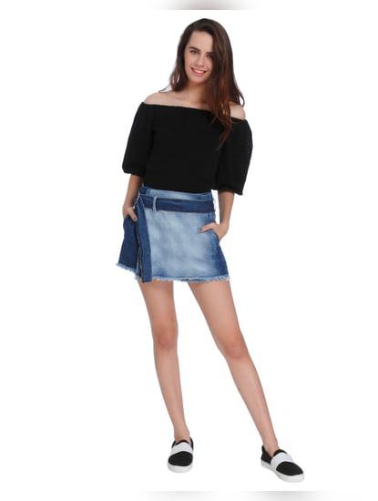 Dark Blue Denim Mini Shorts