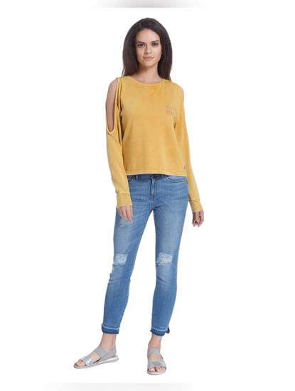 Yellow Cold Shoulder Sweater