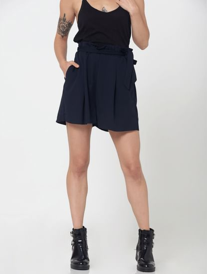 Dark Blue High Waist Knot Detail Shorts