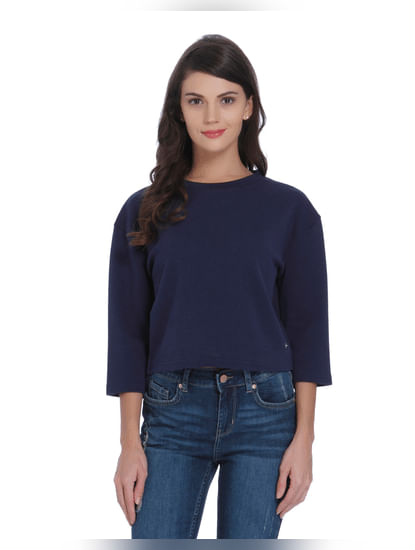 Blue Ruffle Detail Sweatshirt