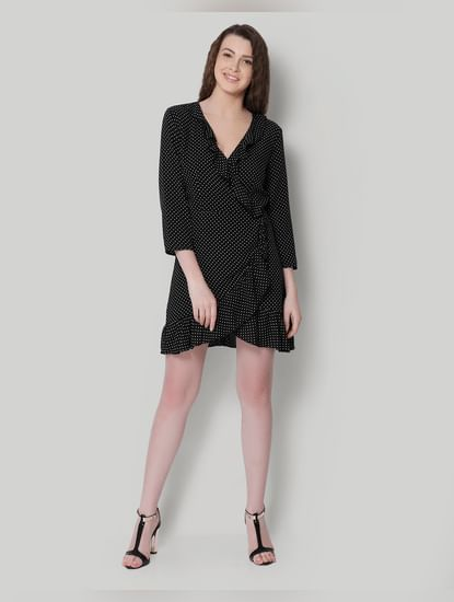 Black Polka Dot Ruffle Wrap Mini Dress