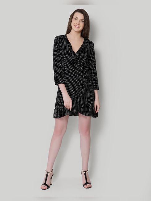 Black Polka Dot Ruffle Wrap Mini Dress