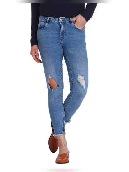 Blue Ripped Medium Rise Skinny Fit Jeans
