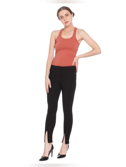 Black Front Ankle Slit Leggings