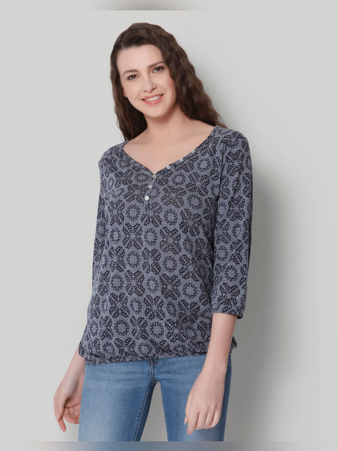 Grey All Over Print Top