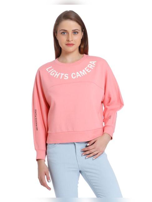 Pink Text Print Cropped Sweatshirt