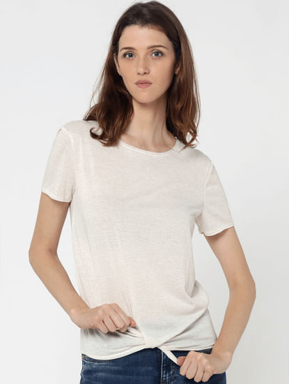 Off White Knot Detail T-Shirt