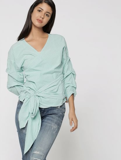 Green Striped Wrap Ruched Sleeves Top