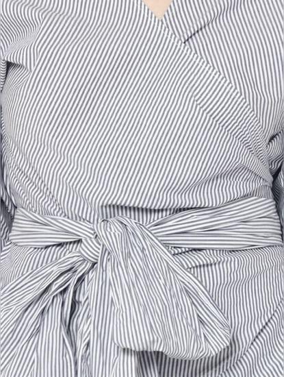 Blue Striped Wrap Top