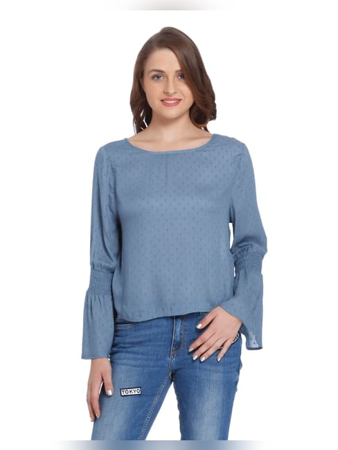 Blue Dobby Weave Flared Sleeves Top