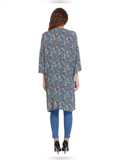 Blue Print Kimono Style Long Cardigan