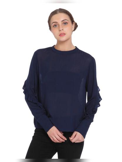 Dark Blue Ruffle Sleeves Top