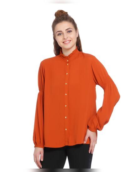 Rust Lantern Sleeves Shirt
