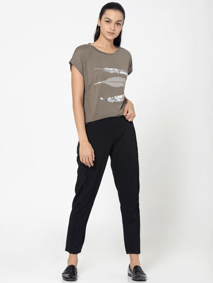 Brown Sequinned Feather Print Top