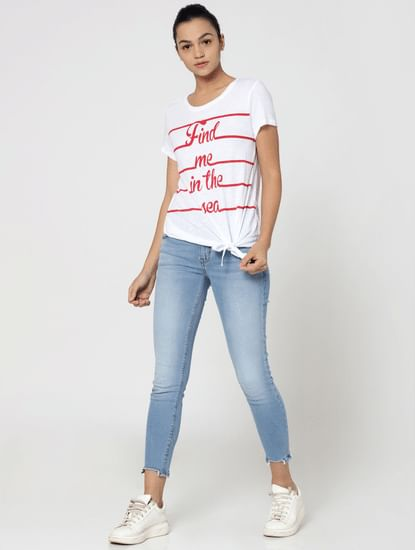 White Text Print Knot Detail T-Shirt
