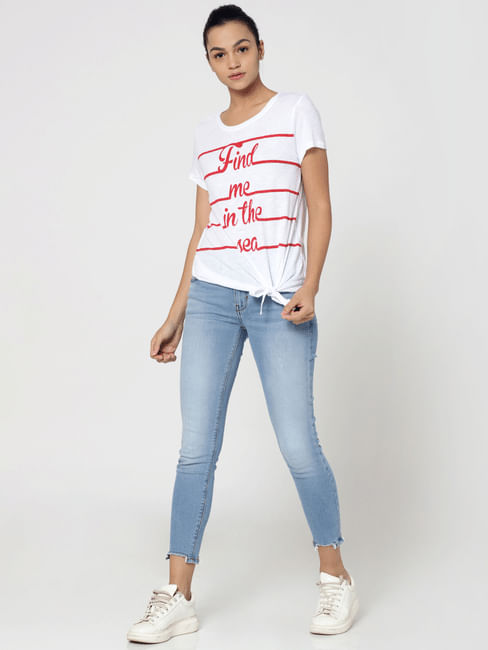 White Text Print Knot Detail T-Shirt