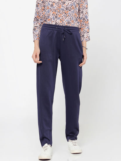 Blue Striped Mid Rise Relaxed Fit Drawstring Pants