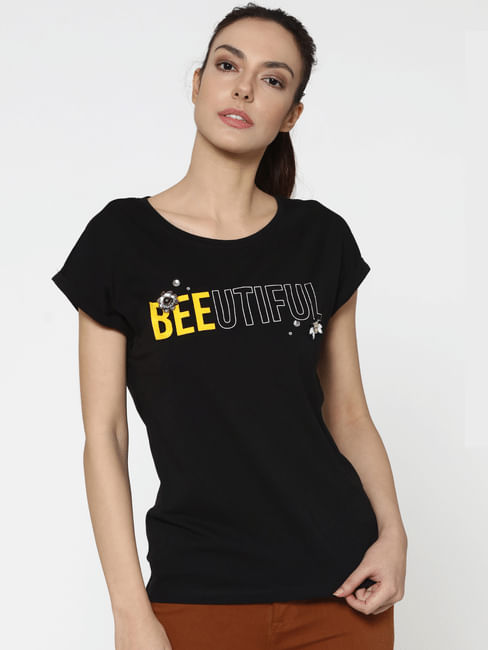 Black Text Print Embellished T-Shirt