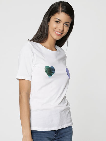 White Metallic Heart Print T-Shirt