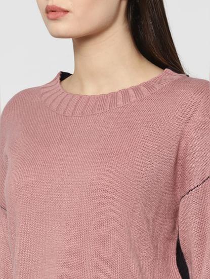 Dark Pink Colourblocked Pullover
