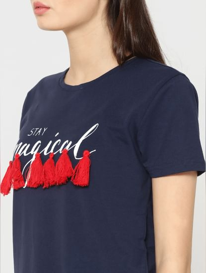Blue Text Print Tassle Detail T-Shirt