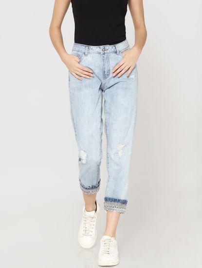 Light Blue Mid Rise Distressed Embellished Boyfriend Jeans