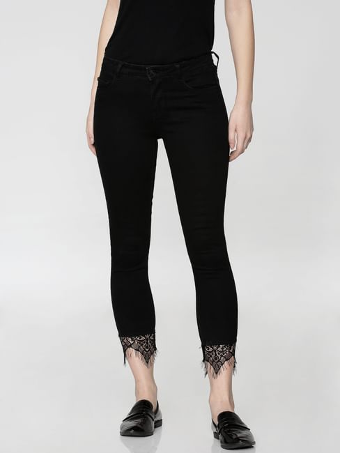 Black Mid Rise Lace Ankle Length Skinny Fit Jeans