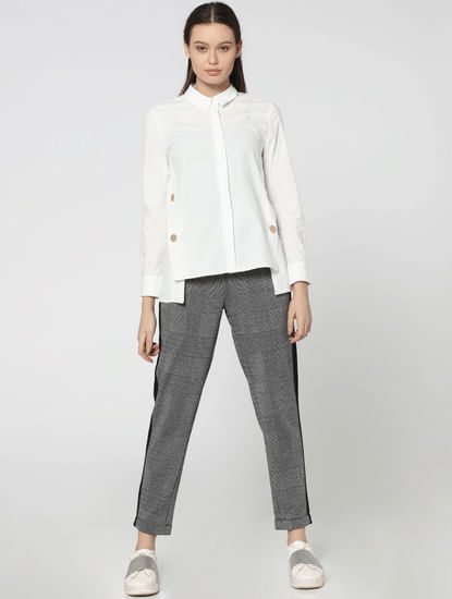 Black Tape Detail Mid Rise Comfort Fit Check Pants