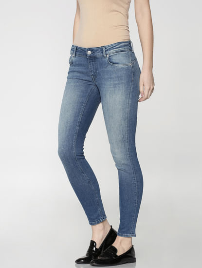 Blue Low Waist Ankle Length Skinny Fit Jeans
