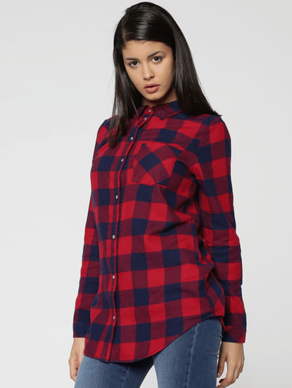 Orange Check Loose Fit Shirt