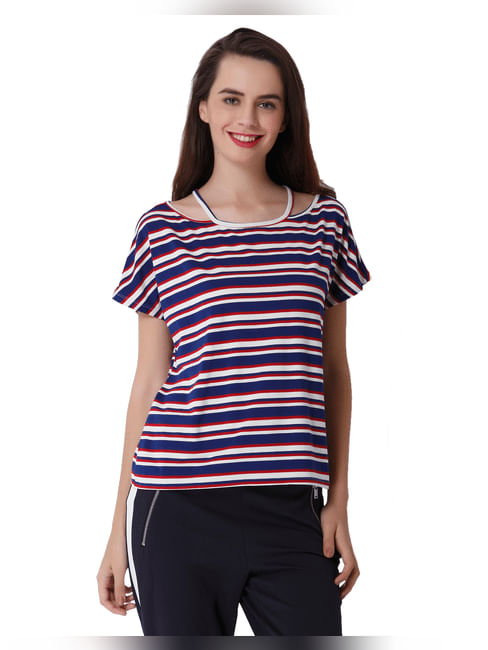 Blue Striped Knit T-Shirt