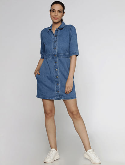 Blue Short Sleeves Denim Mini Dress
