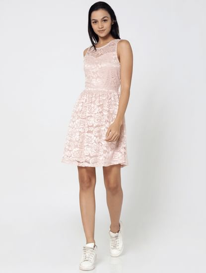Peach Lace Skater Dress