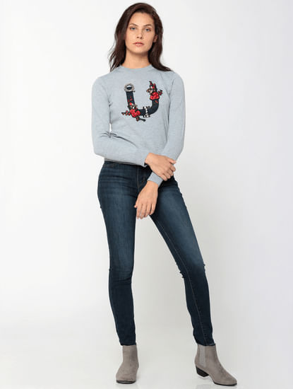 Grey Graphic Printed Flat Knit Pullover