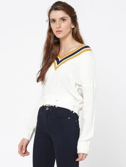 White Striped V-Neck Frayed Pullover