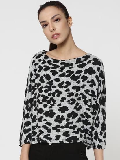 Light Grey Leopard Print Pullover