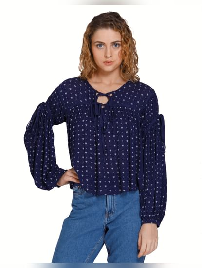 Blue All Over Print Balloon Sleeves Top