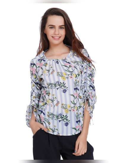 White Floral Print Ruched Sleeves Top
