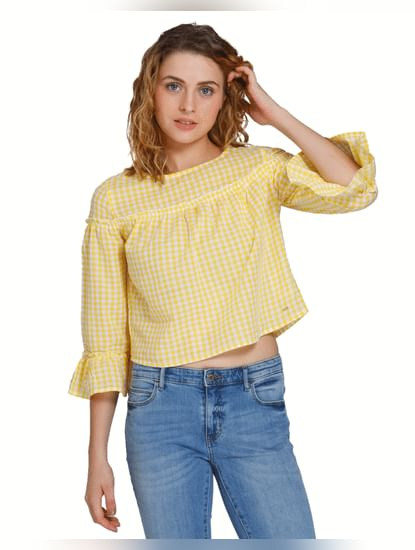 Lemon Yellow Check Top