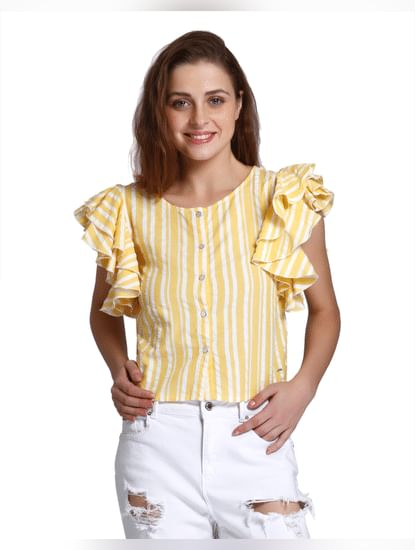 Yellow Striped Ruffle Sleeves Shirt
