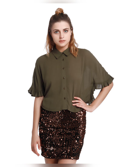 Olive Green Frill Flared Sleeves Shirt