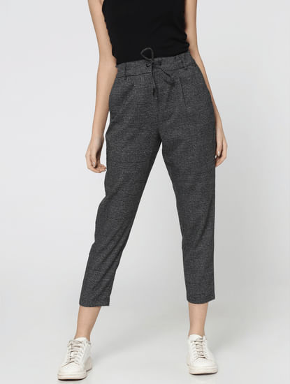 Black Mid Rise Cropped Plaid Pants
