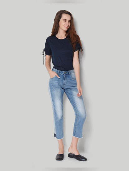 Blue Mid Waist Comfort Fit Ankle Length Denim