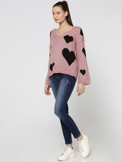 Pink Heart Print Sweater