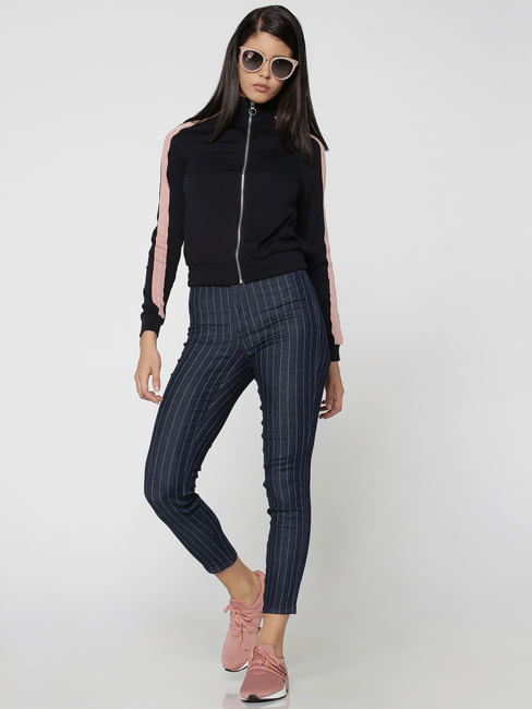 Blue High Waisted Pinstriped Skinny Jeans