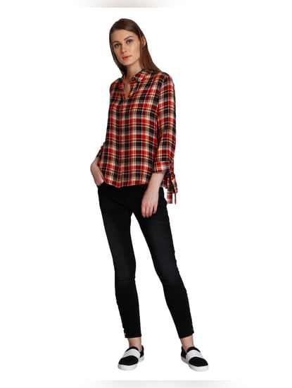 Red Check Bow Knot Sleeves Shirt